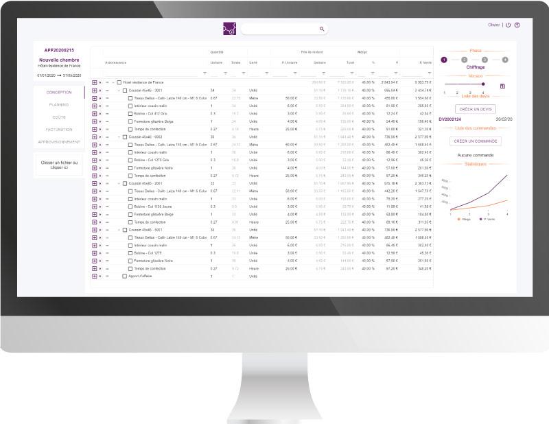 Capture d'écran de la fonctionnalité ERP gestion à l'affaire Altior