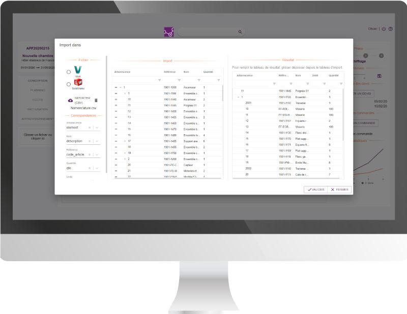 Capture d'écran de la fonctionnalité ERP intégration CAO Altior