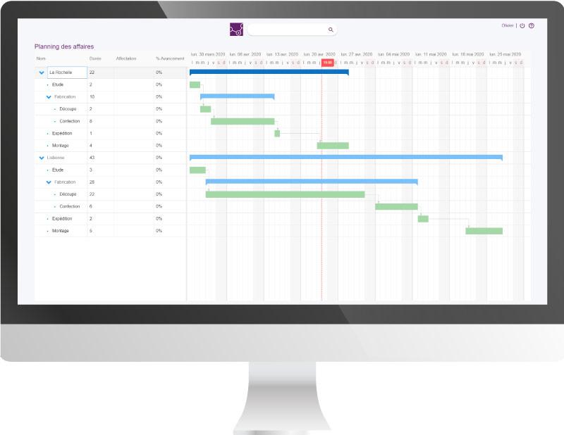Capture d'écran de la fonctionnalité ERP planning GPAO Altior